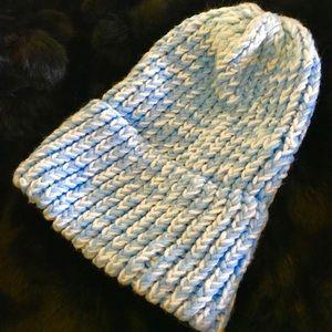 Sky blue hand knit beanie